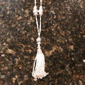 Lauren Conrad silver metal tassel necklace!